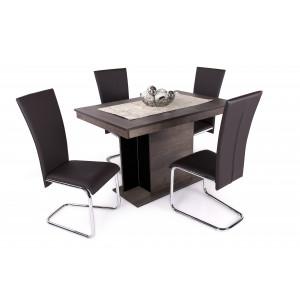 Iszap tölgy - fekete üveglap asztal + barna szék