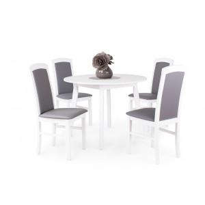 Fehér asztal + fehér - szürke textilbőr szék