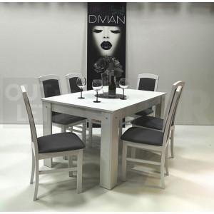 Fehér asztal - fehér - szürke textilbőr szék