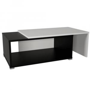 Nyitható dohányzóasztal, fekete/fehér, DRON