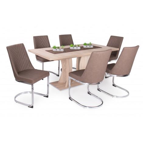 Sonoma tölgy asztal - barna szék
