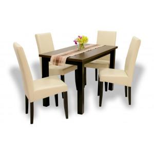 Wenge asztal + wenge - beige műbőr szék