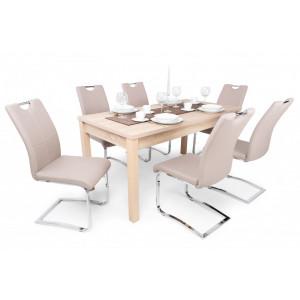 Sonoma tölgy asztal - beige szék