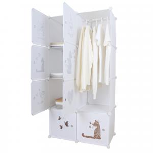 Gyerek moduláris szekrény, fehér/barna minta, KIRBY