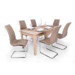 Sonoma tölgy asztal + sötét beige szék