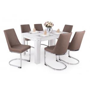 Fehér asztal + barna szék