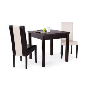 Wenge asztal + 1 db beige és 1 db sötétbarna szék