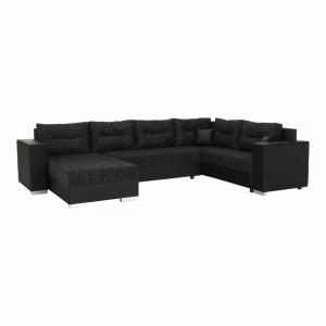 Univerzális ülőgarnitúra, fekete/fekete melír, STILA
