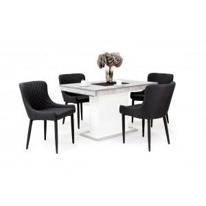 Beton - fehér asztal + fekete szék
