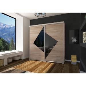 Sonoma tölgy - fekete üveglappal