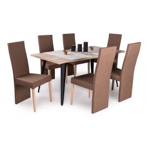 Sonoma tölgy asztal + sonoma tölgy - barna szék