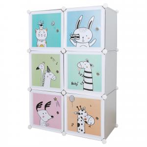 Gyerek moduláris szekrény, szürke/gyerek minta, BIARO