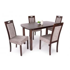 Mogyoró asztal + dió - szürkésbarna szék