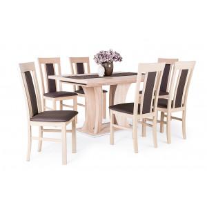 Sonoma tölgy asztal + sonoma tölgy - sötétbarna műbőr szék