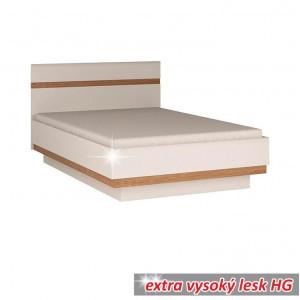 LYNATET TYP 91 ágy 140, fehér extra magas fényű HG/tölgy sonoma sötét trufla - raktári