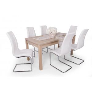 Sonoma tölgy asztal + fehér szék