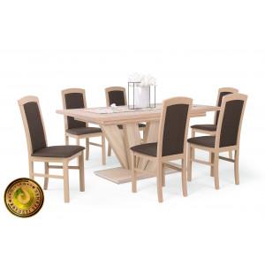 Sonoma tölgy asztal + sonoma tölgy - csokibarna szövet