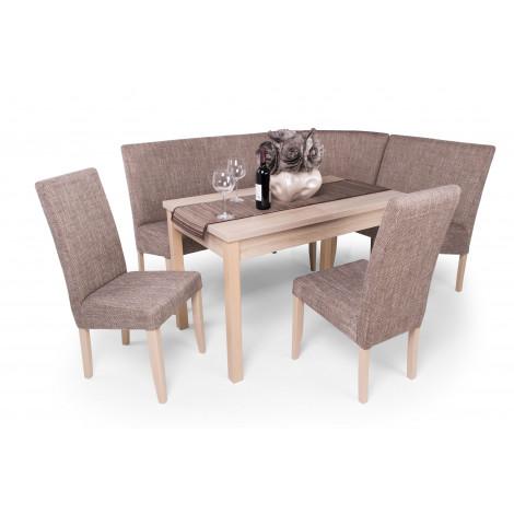 Sonoma tölgy asztal + sonoma tölgy - világosbarna szövet sarokülő és szék