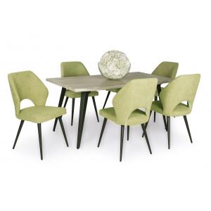 Sonoma tölgy asztal - zöld szék