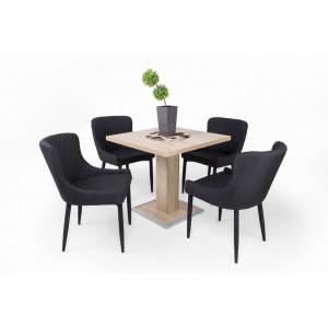 Sonoma tölgy asztal + fekete szék