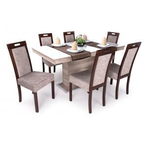 San remo asztal + fehér üveglap + dió - szürkésbarna szék