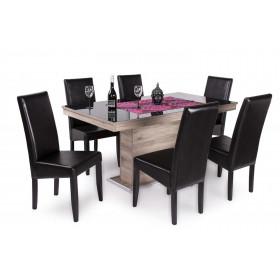 San remo - fekete üveglappal asztal + wenge - sötétbarna műbőr szék