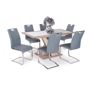 Sonoma tölgy asztal - szürke székek