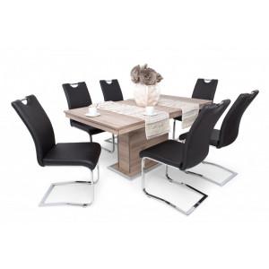Mona étkező Flóra asztallal-San Remo asztal-Fekete szék