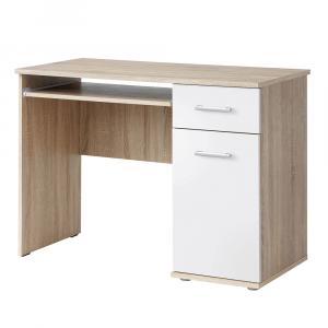 PC asztal, sonoma tölgyfa/fehér, EMIO 6 TÍPUS