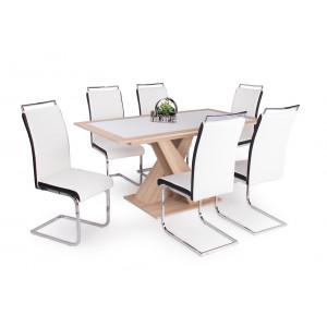 Sonoma tölgy asztal - fehér székek