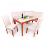 Calvados asztal + calvados - beige műbőr sarokülő és szék