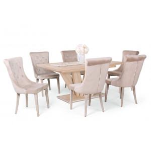 Sonoma tölgy asztal + beige szék