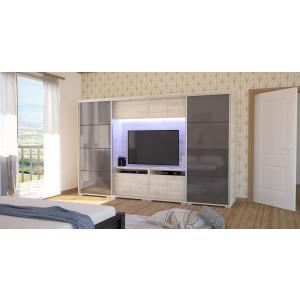 Bond magasfényű TV-s gardrób 318 cm