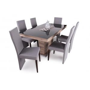 San remo + fekete üveglap asztal + dió - szürke szék
