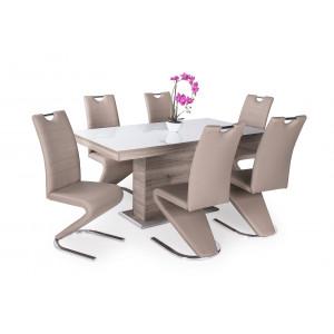 San remo asztal + fehér üveglap + beige szék