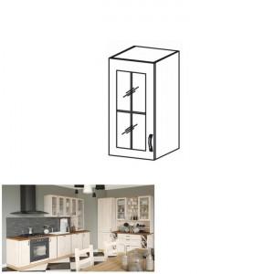 ROYAL G40S felső szekrény üvegajtós, fehér/északi fenyő, bal oldali kivitel - raktári
