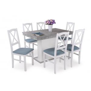 Beton fehér asztal + fehér szék