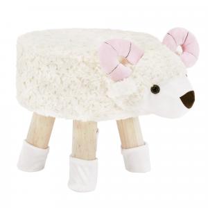 Zsámoly bárány alakban, Velvet szövet fehér/rózsaszín/természetes, LOLA