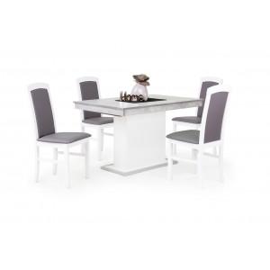 Beton - fehér asztal + fehér - szürke textilbőr szék