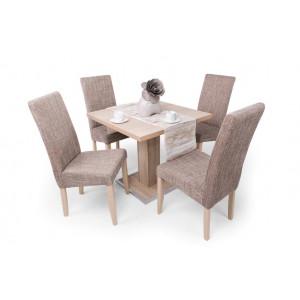 Sonoma tölgy asztal + sonoma tölgy - világosbarna szövet szék