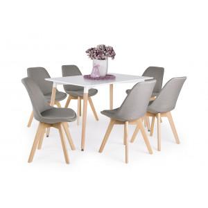 Világos bükk - fehér asztal + szürke szék