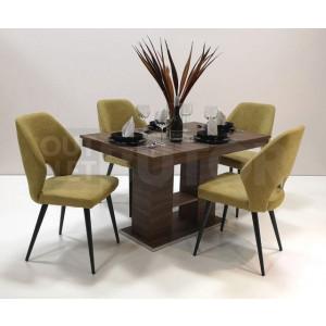 Bourbon tölgy asztal - zöld szék
