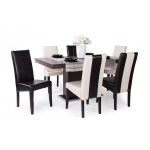 Wenge asztal + 3 db sötétbarna - beige csíkos és 3 db beige - sötétbarna csíkos szék