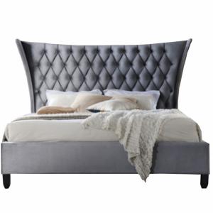 Dupla ágy, szürke/wenge, 160x200, ALESIA