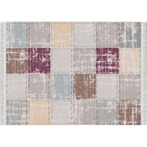 Szőnyeg, barna/szürke/bordó/minta kocka, 80x150, FIRBI