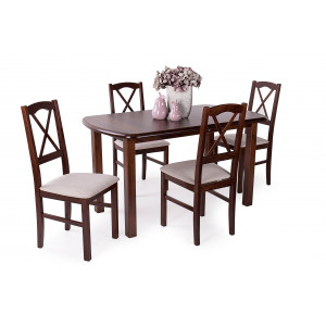 Mogyoró asztal + dió szék