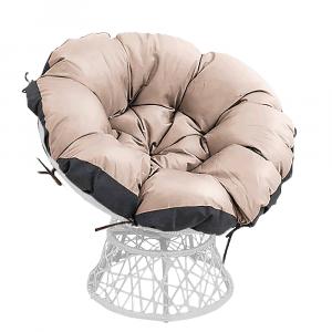 Forgó fotel párnával, fehér/taupe/fekete, TRISS BIG