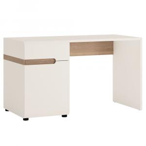 PC asztal, fehér extra magasfényű HG/tölgy sonoma sötét trufla, LYNATET TYP 80