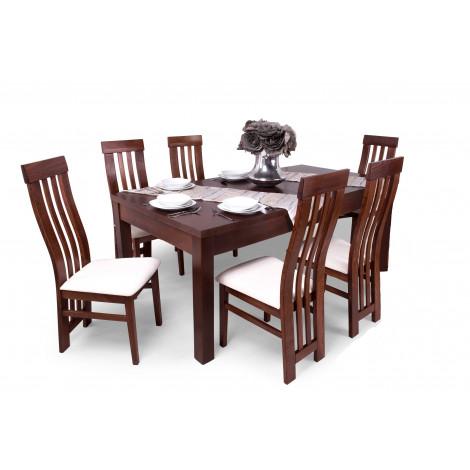 Gesztenye asztal + gesztenye - világosbarna szövet