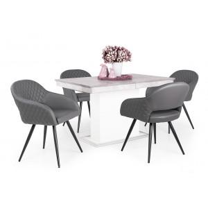 Beton - fehér asztal + szürke szék